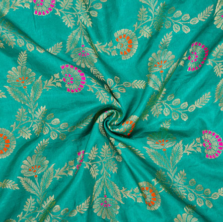 Cyan Pink and Golden Floral Satin Brocade Silk Fabric-12700