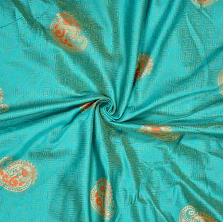 Cyan Pink and Golden Paisley Banarasi Brocade Silk Fabric-12768