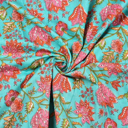 Cyan Pink and Green Floral Block Print Cotton Fabric-28446