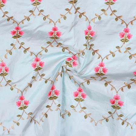 Cyan Pink and Green Jalbari Embroidery Silk Fabric-61033