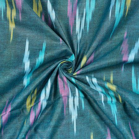 Cyan Pink and Yellow Ikat Cotton Fabric-11116