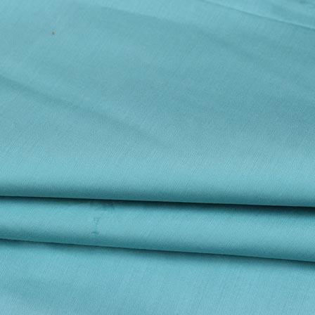 Cyan Plain Cotton Silk Fabric-16430