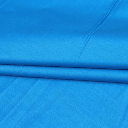 Cyan Plain Cotton Silk Fabric-16431
