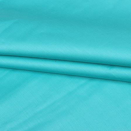 Cyan Plain Cotton Silk Fabric-16447
