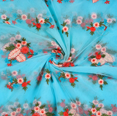 Cyan Red and Beige Floral Net Embroidery Silk Fabric-18889