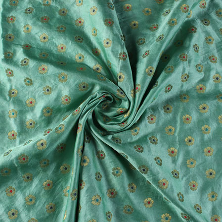 Cyan Red and Blue Floral Satin Brocade Silk Fabric-9476