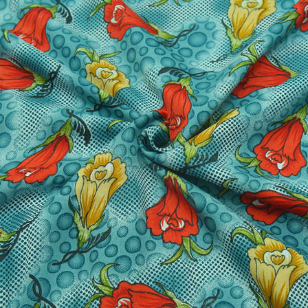 Cyan-Red and Cream Floral Pattern Crepe Fabric-18050