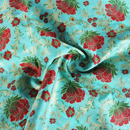 Cyan Red and Golden Floral Banarasi Silk Fabric-9405