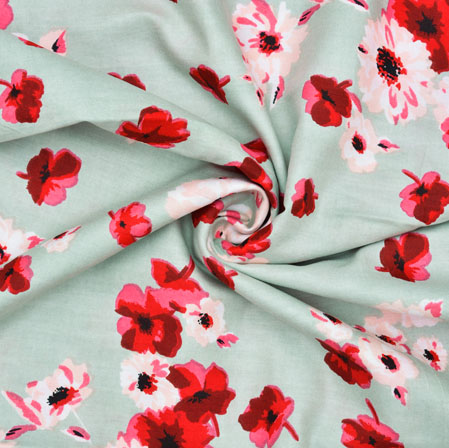 Cyan Red and White Floral Rayon Fabric-28621