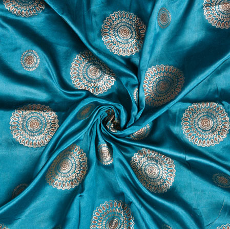 Cyan Silver Satin Brocade Silk Gola Fabric-12956