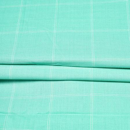 Cyan White Checks Handloom Cotton Fabric-42519