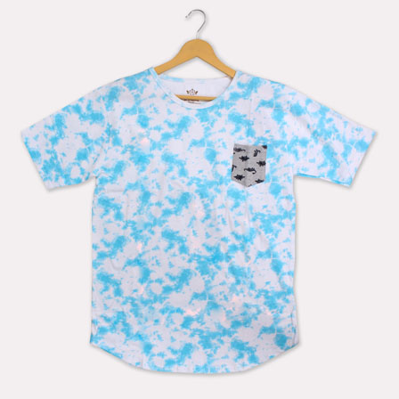 Cyan White Cotton T-shirt-33359