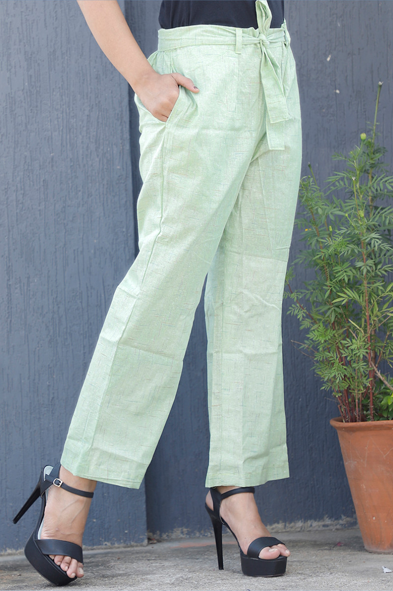 Cyan White Cotton Checks Pant with Belt-34071