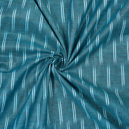 Cyan White Ikat Cotton Fabric-11093