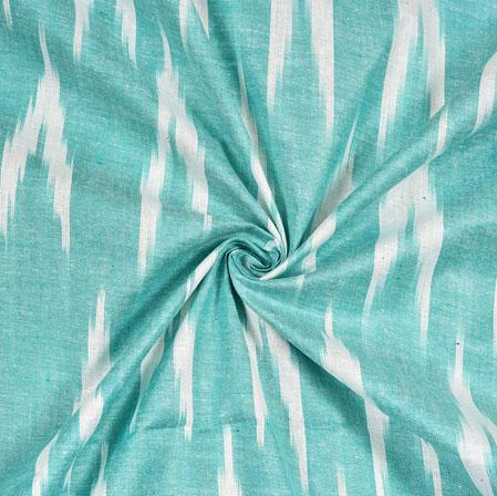 Cyan White Ikat Cotton Fabric-11119
