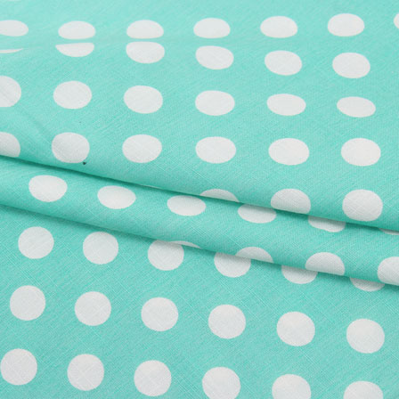 Cyan White Polka Print Rayon Fabric-15275