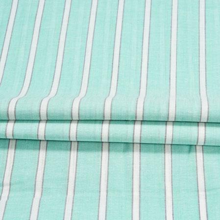 Cyan White Stripe Handloom Cotton Fabric-41037