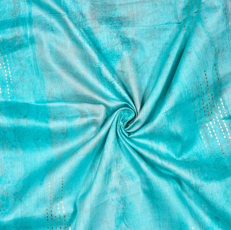 Cyan White Tie-Dye Cotton Print Fabric-28187