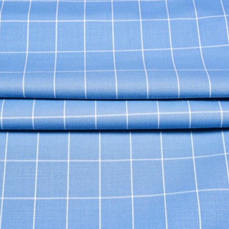 Cyan White Checks Wool Fabric-90200