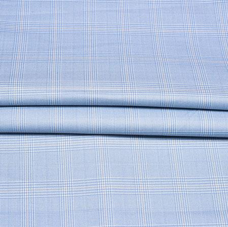 Cyan White Checks Wool Fabric-90201