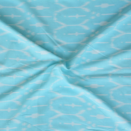 Cyan White ikat two tone Rayon Fabric-15169