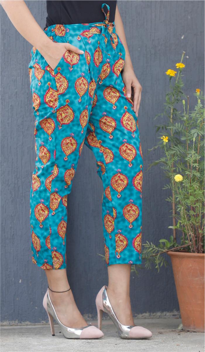 Cyan Yellow Floral Block Print Cotton Pant-34079