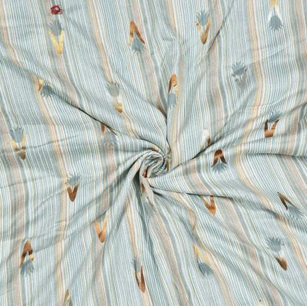 Cyan Yellow Floral Cotton Flex Fabric-28169