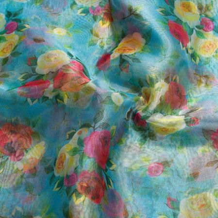 Cyan Yellow Floral Organza Silk Fabric-22079