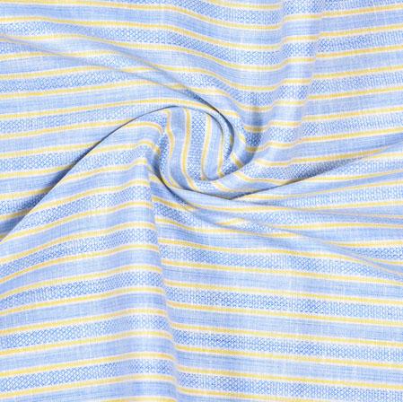 Cyan Yellow Striped Handloom Cotton Fabric-40803