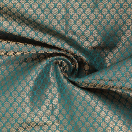 Cyan and Golden Floral Brocade Silk Fabric-8926