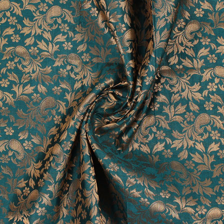 Cyan and Golden Floral Brocade Silk Fabric-8935