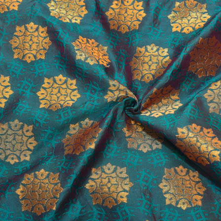 Cyan and Golden Floral Pattern Brocade Silk Fabric-8133