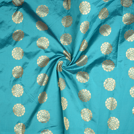 Cyan and Golden Flower Brocade Silk Fabric-8574