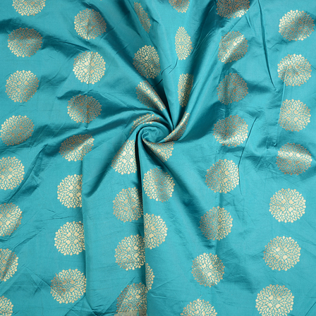 Cyan and Golden Flower Brocade Silk Fabric-8577