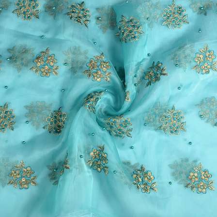 Cyan and Golden Flower Organza Embroidery Fabric-51202