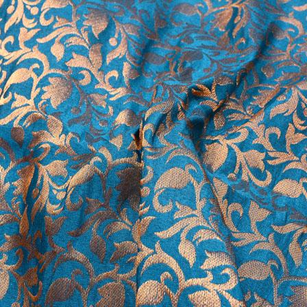 Cyan and Golden Leaf Pattern Chanderi Silk Fabric-5465