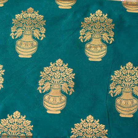 Cyan and Golden flower pot brocade silk fabric-4647