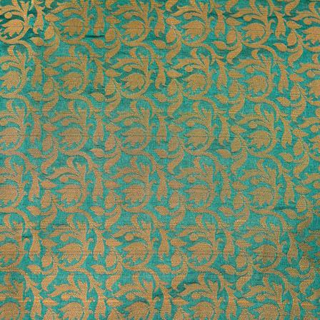 Cyan and Golden kalamkari flower brocade silk fabric-4693