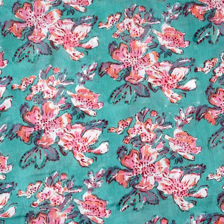 Cyan and Pink block print fabric-4561
