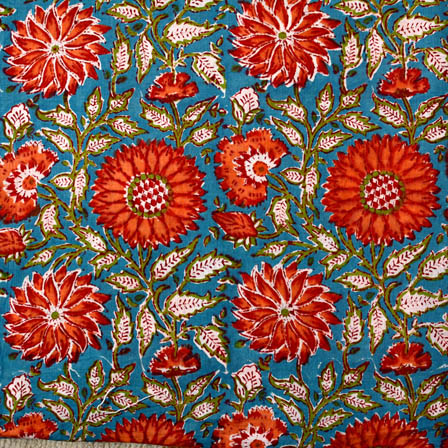 Cyan and Pink flower block print fabric-4566