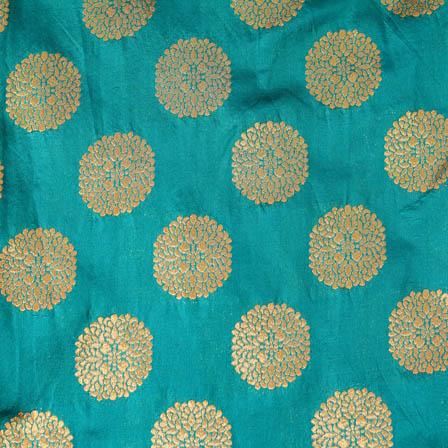 Cyan and large golden circle shape brocade silk fabric-4646