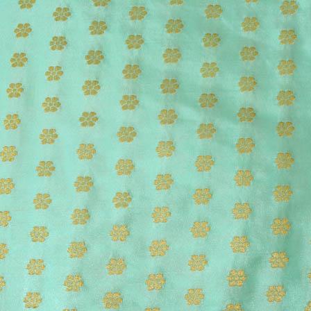 Cyan and small golden shape brocade silk fabric-4677