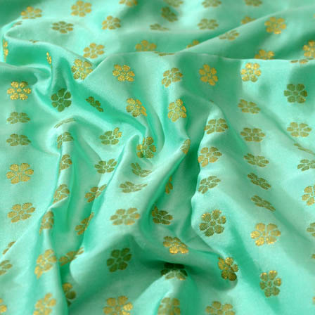 Cyan and small golden shape brocade silk fabric-4677