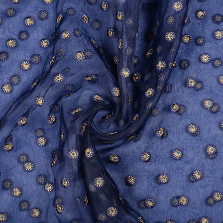 Dark Blue Organza Fabric With Golden Flower Embroidery-51018