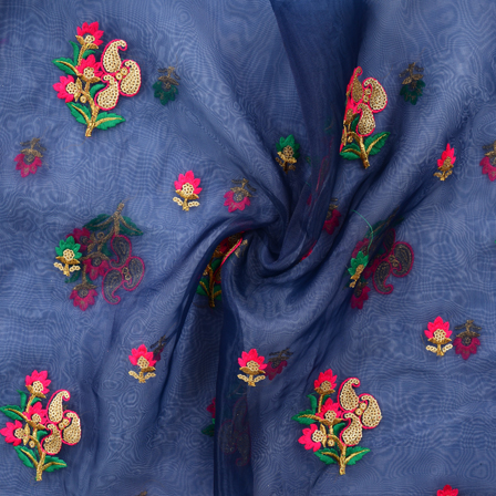 Dark Blue Organza With Golden and Pink Flower Embroidery-51002