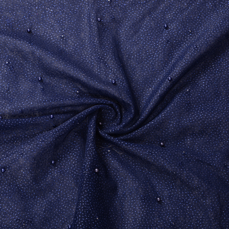 Dark Blue Pearl Pattern Embroidery Net Fabric-60200
