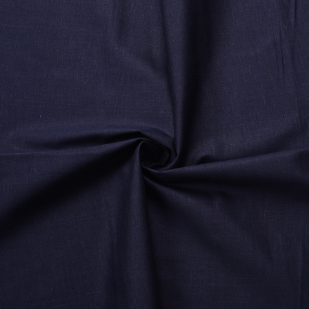 Dark Blue Plain Cotton Slub Handloom Fabric-40213