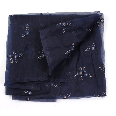 Dark Blue and Golden Floral Design Embroidery  Silk Organza Fabric-50038
