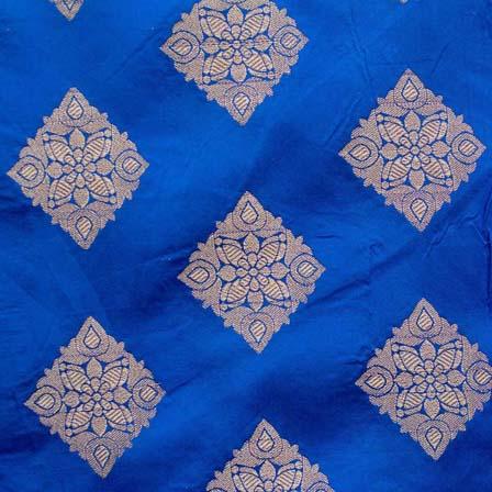 Dark Blue and Golden Triangle Flower Brocade Silk Fabric by the yard