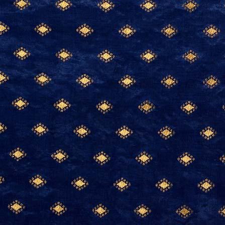 Dark Blue and Golden Zari Work Brocade Silk Fabric by the yard